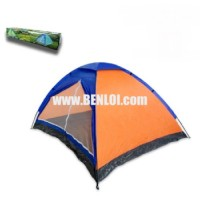 Bobcat 4-Person Monodome Tent With Box (Blue/Orange)