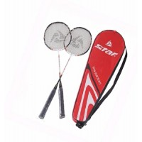 STAR DR-SS300 Badminton Rackets with Full Case (Black/White)